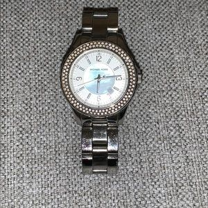Micheal Kors crystal silver watch